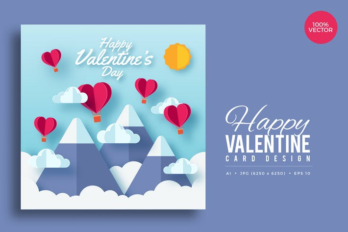 Thumbnail for Paper Art Valentine Square Vector Card Vol.3