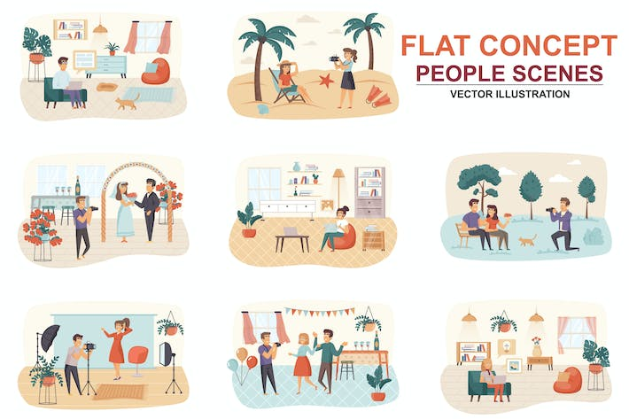 Thumbnail for Collection Designers Flat Concept People Scenes