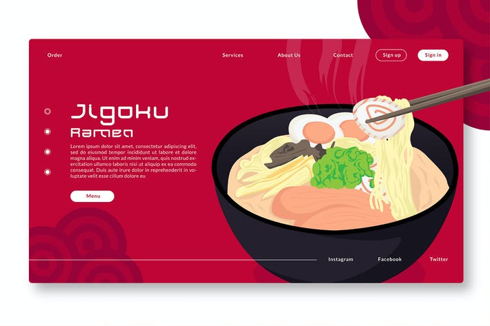 Thumbnail for Jigoku Ramen - Web Header & Vector Illustration GR