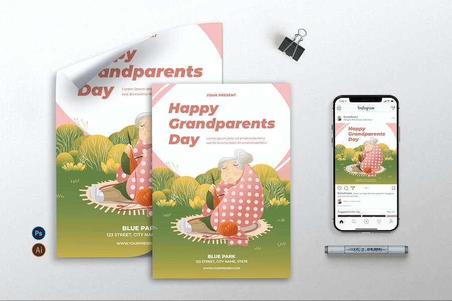 Happy Grandparents Day - Flyer, Poster & IG AS