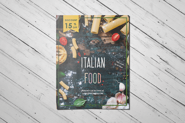Cover Image For Restaurant Brochure with Discount Label