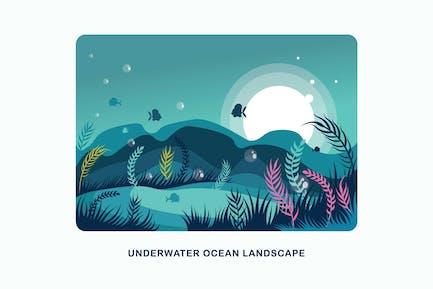 Ilustración Vector submarina Horizontal oceánico