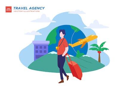 Agencia de viajes para viajes ilustración plana
