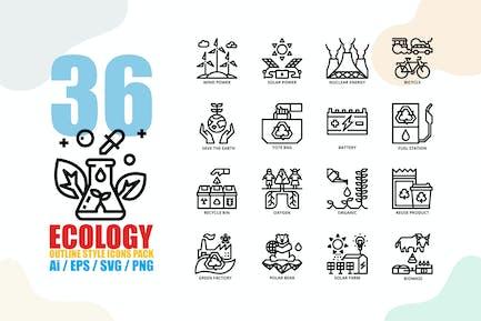 Ökologie Gliederung Stil Icon-Set