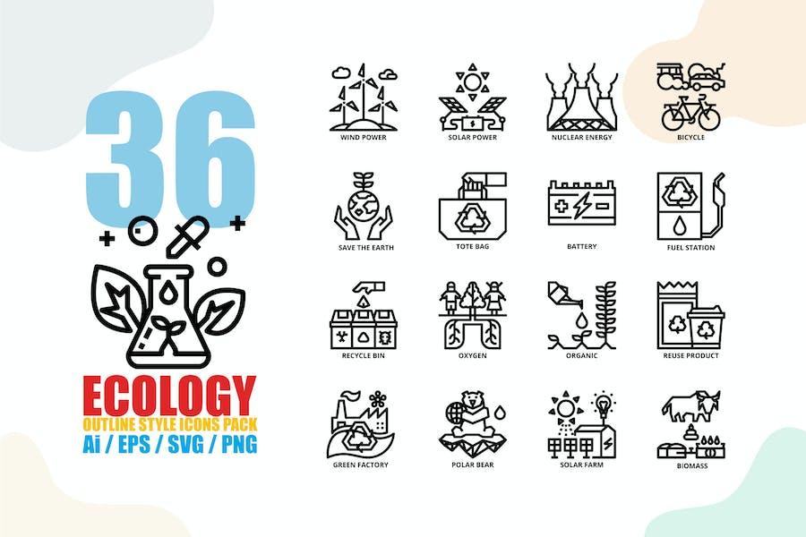Ecology Outline Style Icon Set