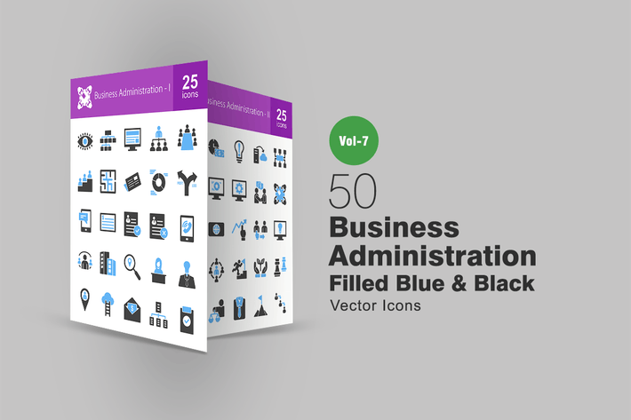 Thumbnail for 50 Business Administration Blue & Black Icons