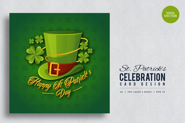 Thumbnail for St. Patrick's Day Square Vektor karte Vol.7