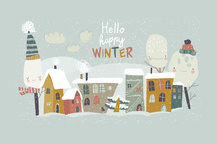Thumbnail for Cute little town covered snow. Vector illustration