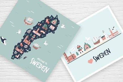 Schweden: Karte, Postkarten, Dekorative Poster
