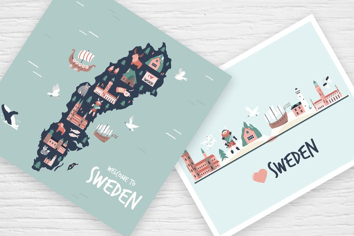 Sweden: Map, Postcards, Decorative Posters