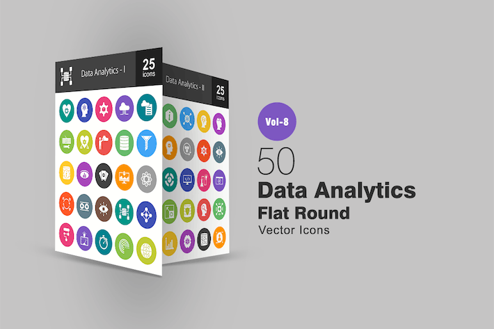 Thumbnail for 50 Data Analytics Flat Round Icons
