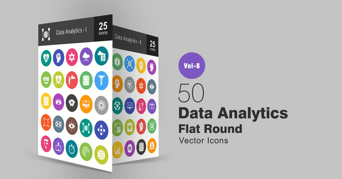 Download 50 Data Analytics Flat Round Icons by IconBunny
