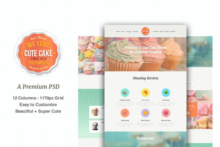 Thumbnail for Cute Cake - One Page PSD Template