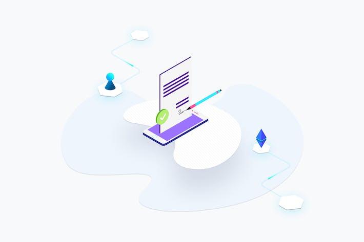 Thumbnail for Blockchain-Plattform Smart Contract Isometrische