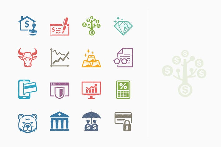 Thumbnail for Colored Personal & Business Finance Icons - Set 1