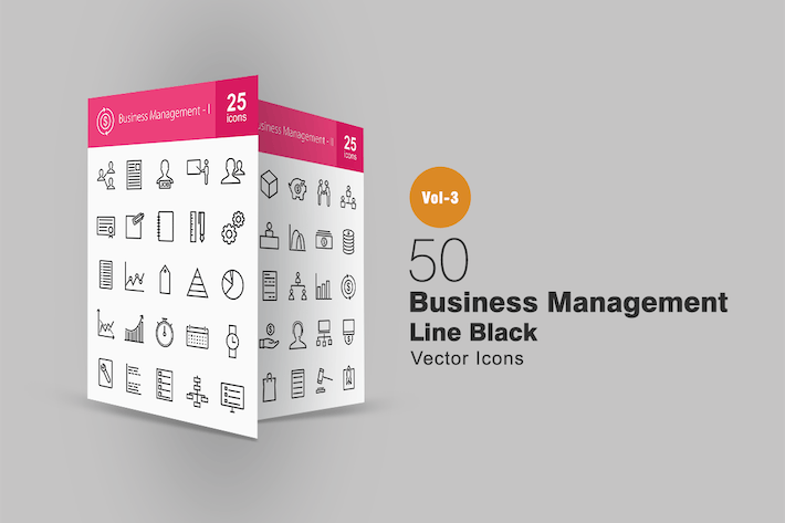 Thumbnail for 50 Business Management Line Icons