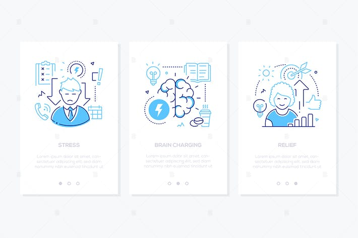 Stress Concept Line Design Style Web Banners
