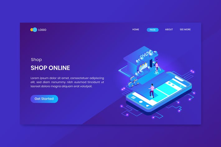 Thumbnail for Shopping Online Isometric Concept Landing Page