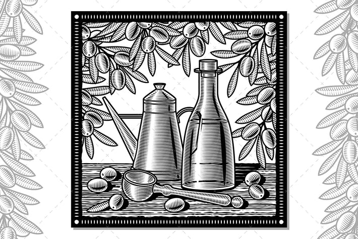 Thumbnail for Olive Oil Harvest Still Life Black And White