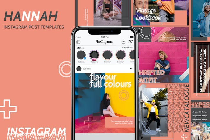 Thumbnail for Hannah Instagram Post Templates