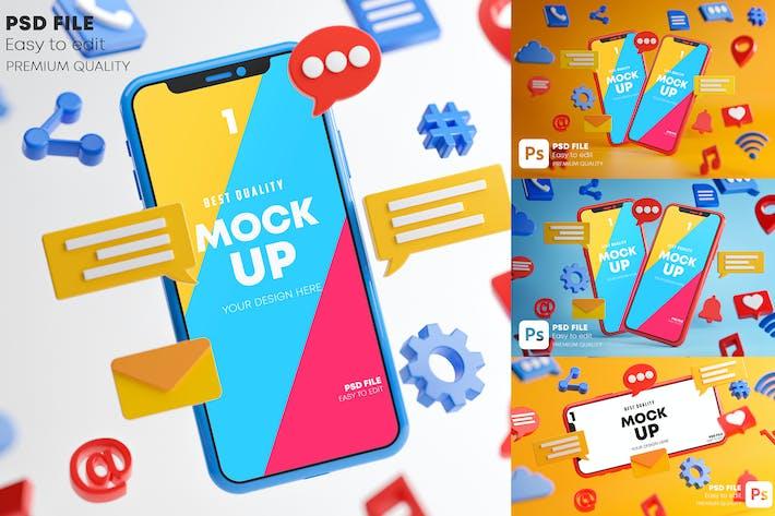 Thumbnail for Ícones de mídia social Smartphone Mockup Pack
