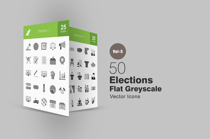 Thumbnail for 50 Elections Greyscale Icons