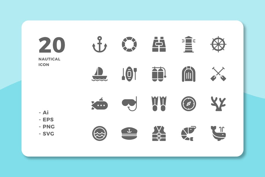 20 Nautical icons (Solid)