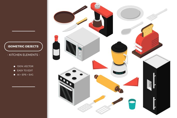 Cover Image For Isometric Kitchen Objects