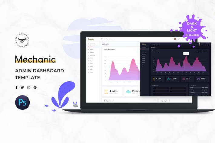 Thumbnail for Mechanic Admin Dashboard UI Kit
