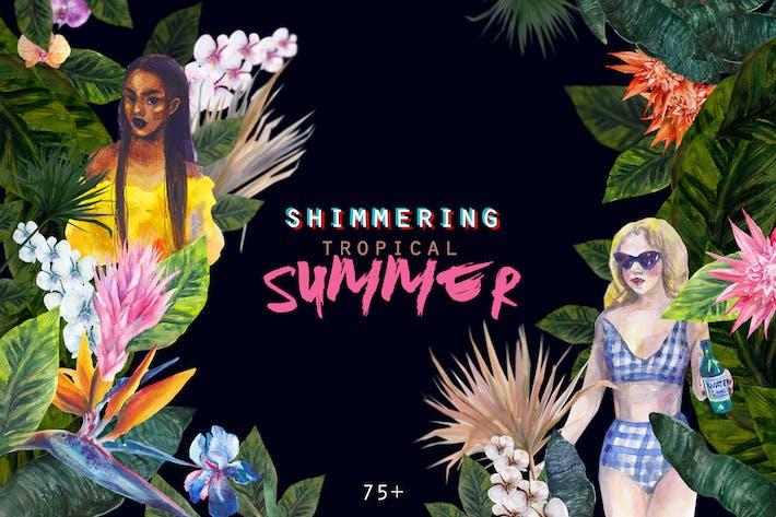 Thumbnail for Tropischer Sommer Aquarell Set