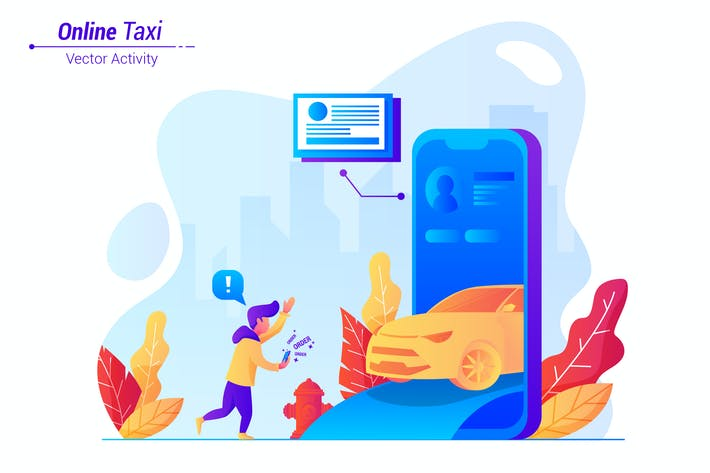 Online Taxi - Vector Illustration