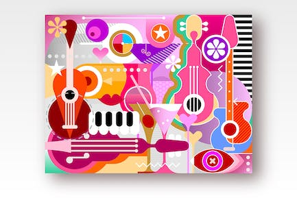 Cocktails and Music vector illustration