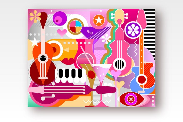 Thumbnail for Cocktails and Music vector illustration