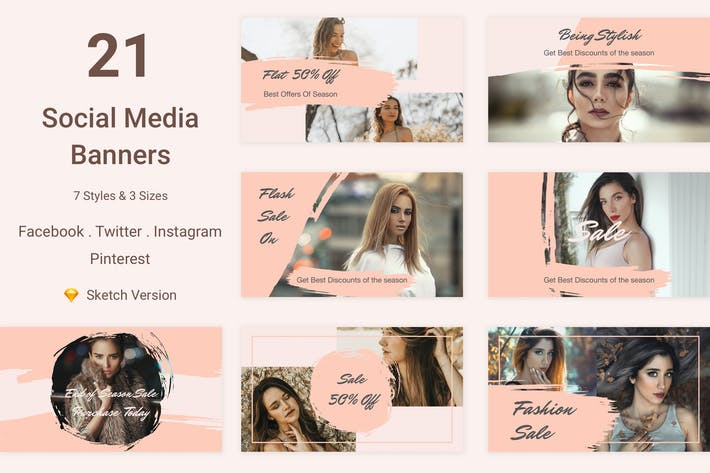 Thumbnail for 21 Social Media Banners Kit (Vol. 5) for Sketch