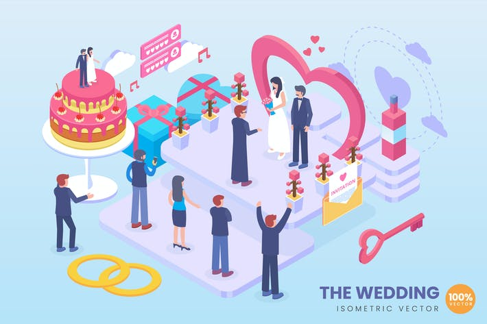 Thumbnail for Isometric The Wedding Vector Concept