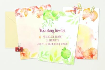 Watercolor Wedding Invites Background Orange