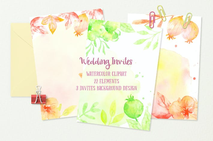 Thumbnail for Watercolor Wedding Invites Background Orange