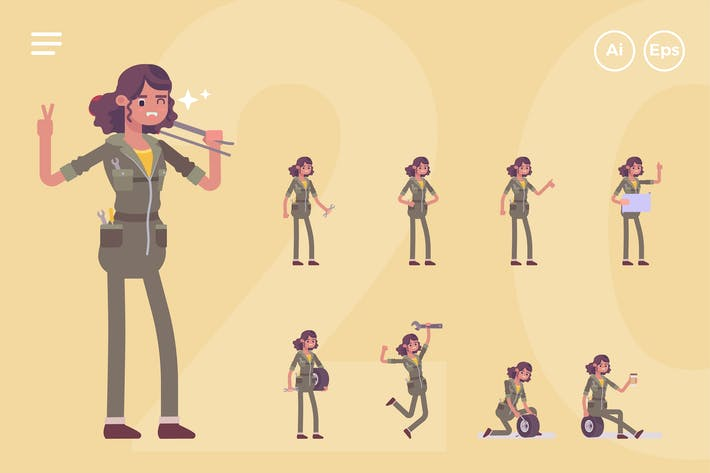 Cover Image For Female Mechanic, Engineer Character Set (20 Poses)