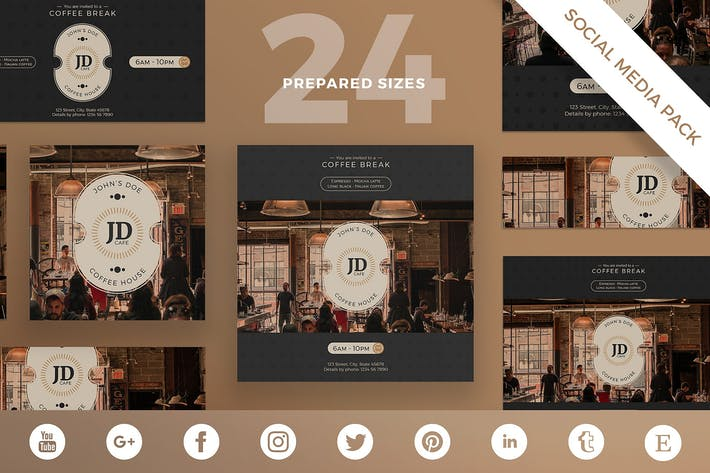 Thumbnail for Coffee Bar Social Media Pack Template