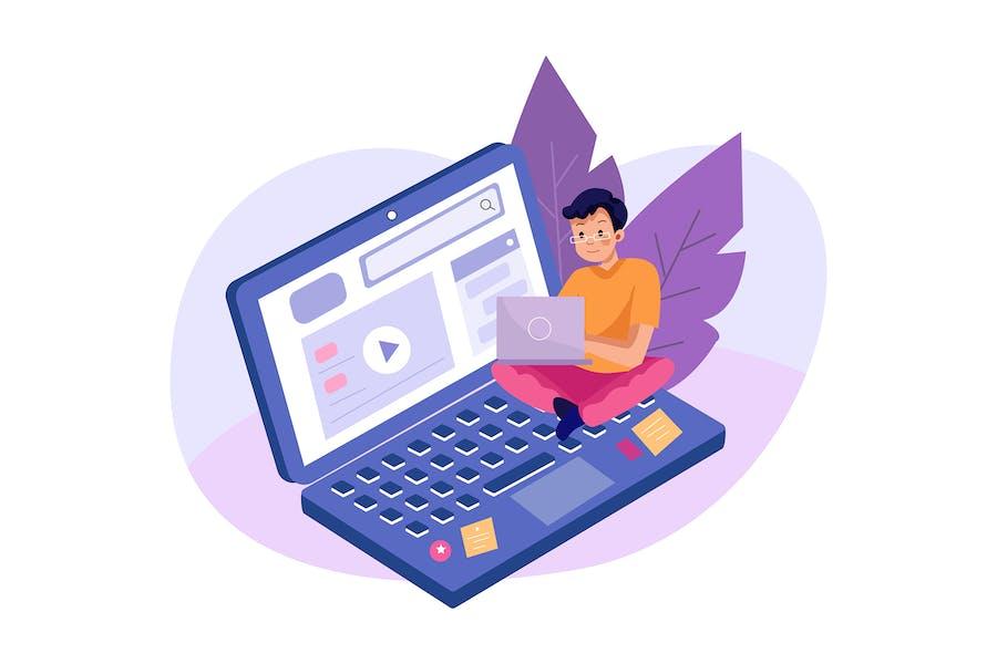 Online-Kurs mit einem Jungen, der auf dem Laptop sucht