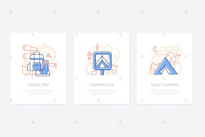 Thumbnail for Tourism and camping - line design style banners