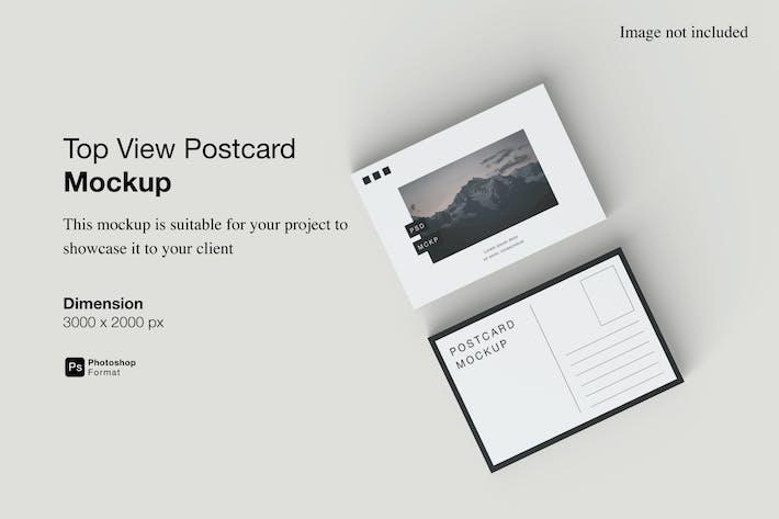 Draufsicht Postkarte Mockup