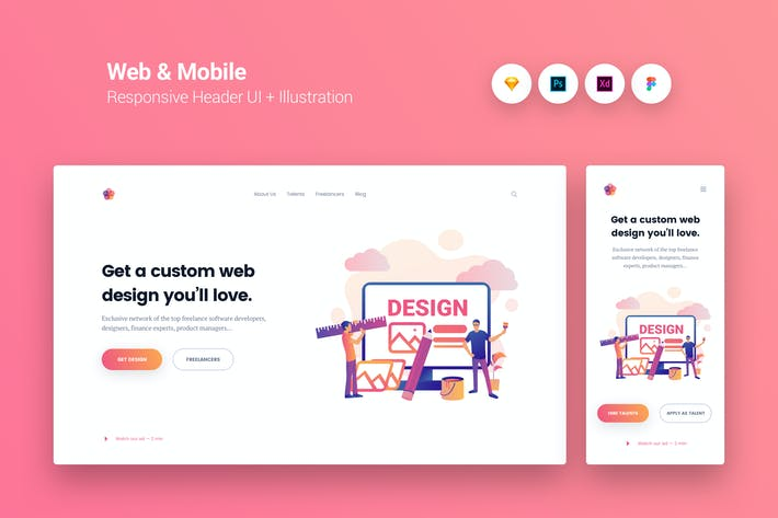 Thumbnail for Web & Mobile Responsive Cover UI + Illustration 9