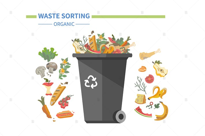 Thumbnail for Organic waste recycling - flat illustration