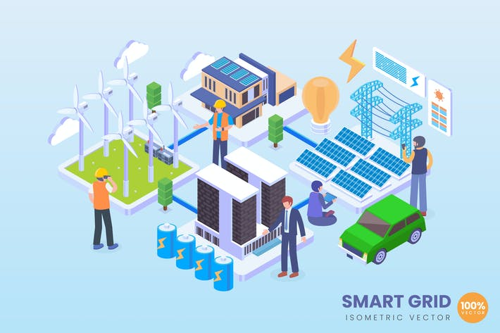 Thumbnail for Isometric Smart Grid Electricity Vector Concept