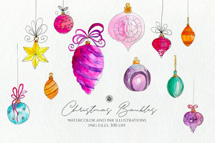 Thumbnail for Christmas Watercolor Baubles