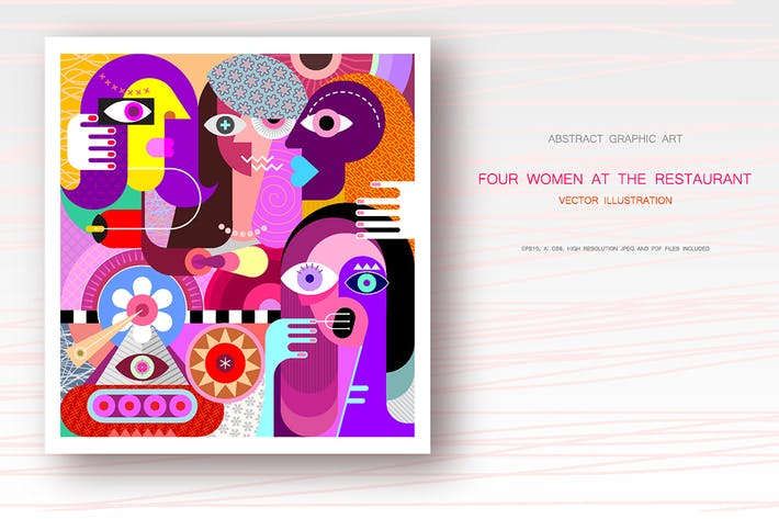 Cover Image For Four Women at the Restaurant vector illustration