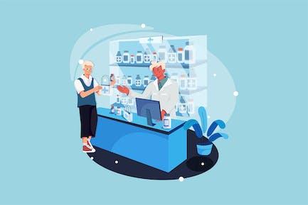 Apotheker und Kunde in der Apotheke