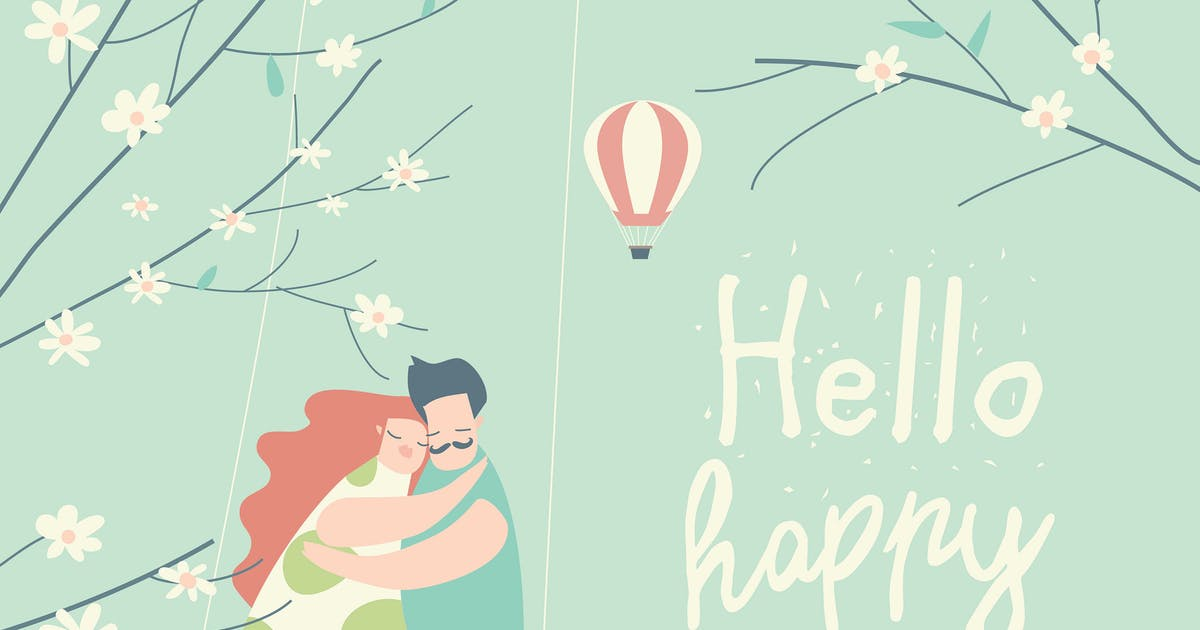 Download Cartoon happy couple in love riding on swing in sp by masastarus