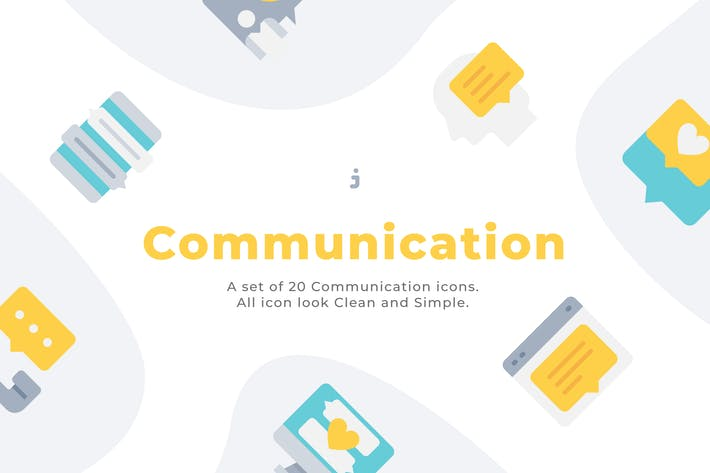 Thumbnail for 20 Communication icons - Flat